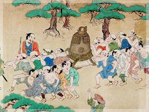 岡山城へ運び出される龍鐘
